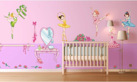 Adesivi murali ballerine stickers e decorazioni leostickers for Decorazioni camerette bambini immagini